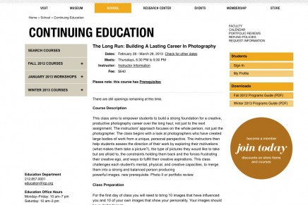 ICP 5 week class: The Long Run: Building A Lasting Career In Photography 2013